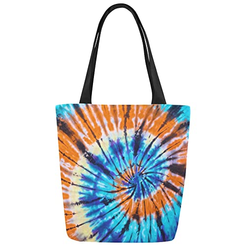 f60d1a85d Amazon.com: InterestPrint Colorful Tie Dye Abstract Swirl Canvas Tote Bag  Shoulder Handbag for Women Girls: Shoes