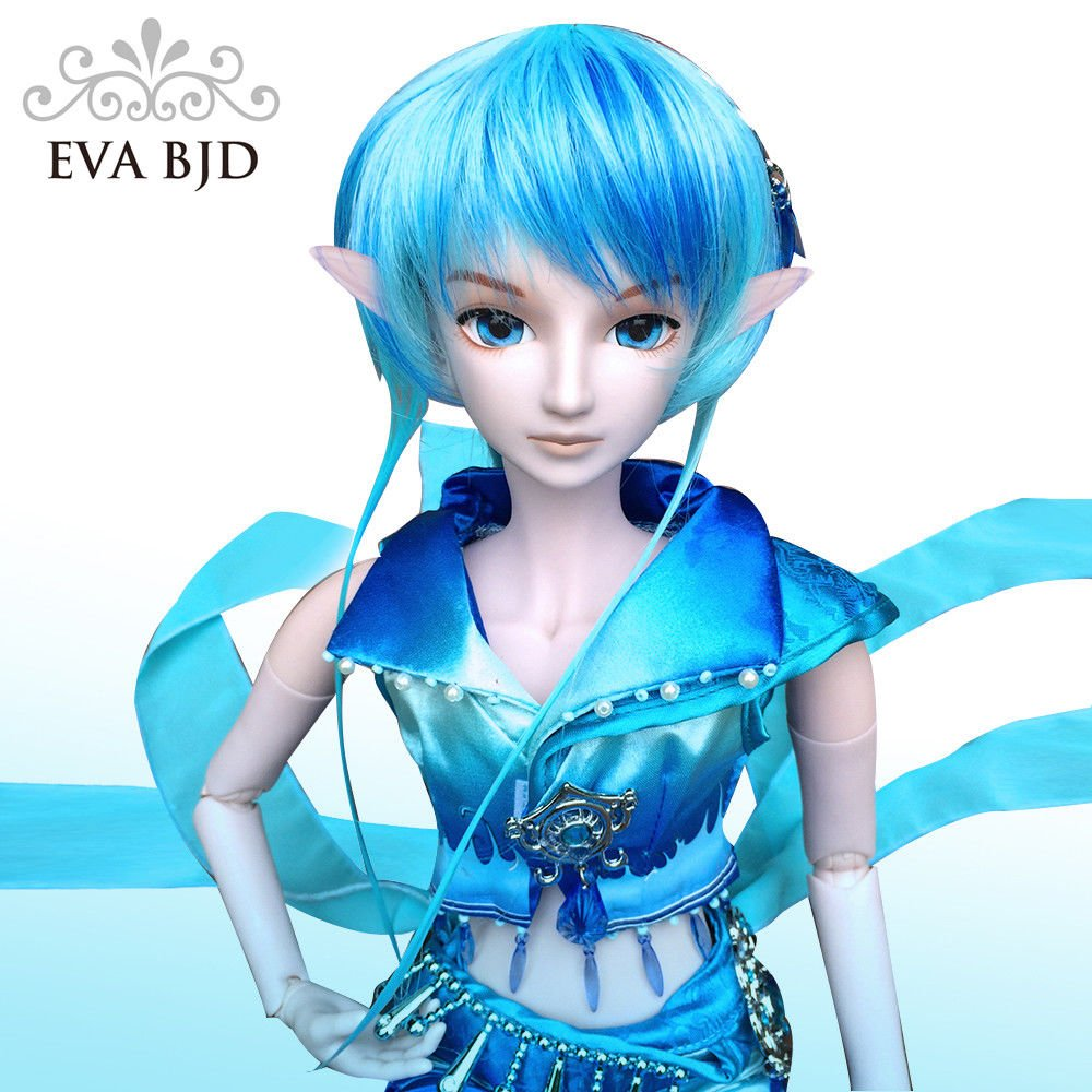 Water Prince Poseidon 1/3 BJD Doll Full Set 24 inch 19 ball jointed dolls Elf ears + Clothes + Free makeup + Hair + Accessories EVA BJD