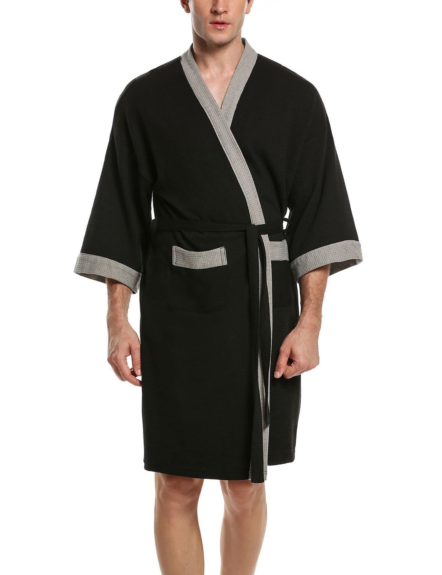 HOTOUCH Men's Cotton Robe, Lightweight Woven Bathrobe Black Grey XL