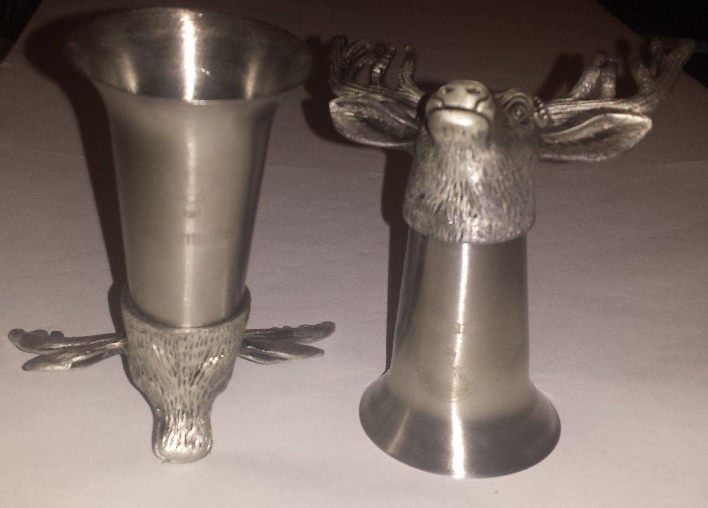 Jagermeister Deer Head pewter shot glasses set of 2
