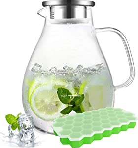 88OZ Large Glass Water Pitcher with Lid and Spout Stainless Steel,Iced Tea Beverage,Juice,Milk,Lemonade,Coffee,Carafe Jug Contaniner for Freezer,Fridge,Featured Scale Line Design,BPA,Lead-Free