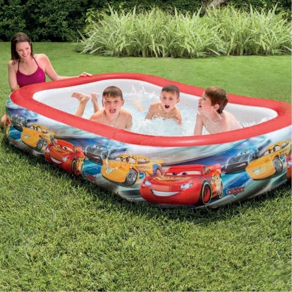 Trade Shop - Piscina Hinchable para niños, diseño de Cars de Disney, 2 Anillos de jardín, 262 x 175 x 56 cm: Amazon.es: Jardín
