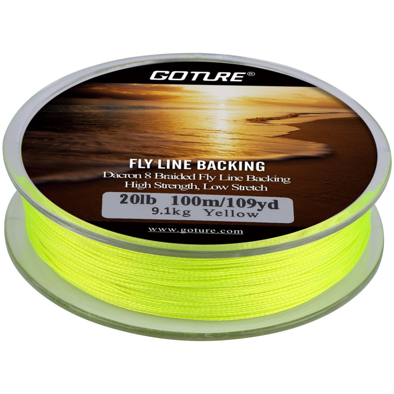 Goture Dacron trenzado de hilo de pesca con mosca pesca de trucha Bass Pike en el agua salada agua dulce 20lb 30LB 109yd naranja blanco amarillo blanco/negro amarillo/negro