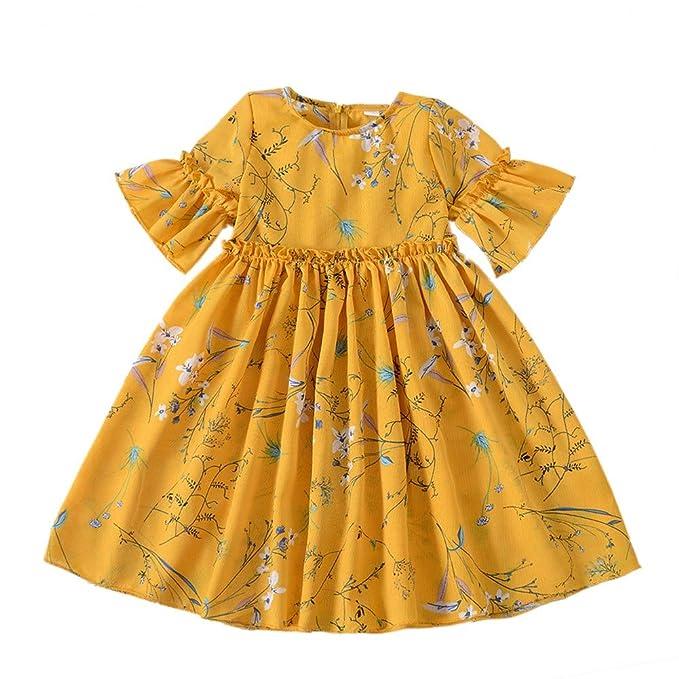 Miyanuby Miyanuby Kinder Mädchen Kleidung Sommerkleid Runde Kragen ...