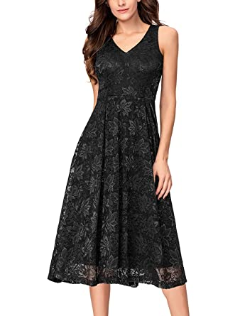 df033111842d7 Noctflos Women's Lace V Neck Fit & Flare Midi Cocktail Dress for Wedding  Guest Black