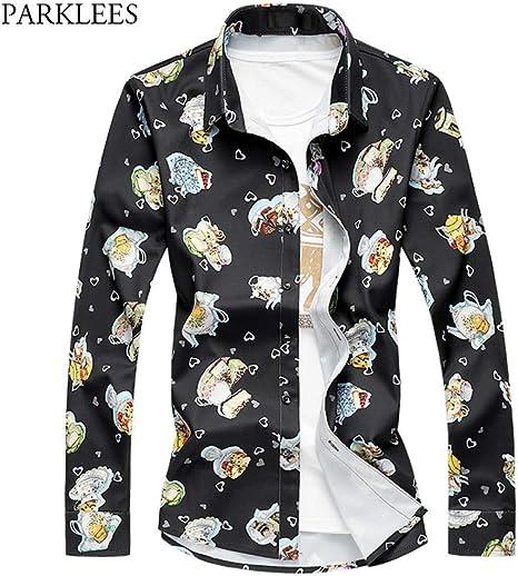 PARKLEES Herren Blumen Hemd Slim Fit Langarm Blumenhemd Frühling neue Casual Hemd Plus Größe Männer Camisas 7XL Camisa: Amazon.es: Deportes y aire libre
