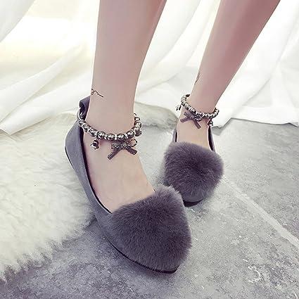 c890431ff74e2 Amazon.com : Ecurson Women Ladies Slip On Sliders Fluffy Faux Fur ...