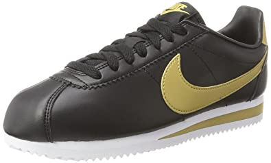 Nike Damen Classic Cortez Leather Sneaker, Schwarz (Black/metallic ...