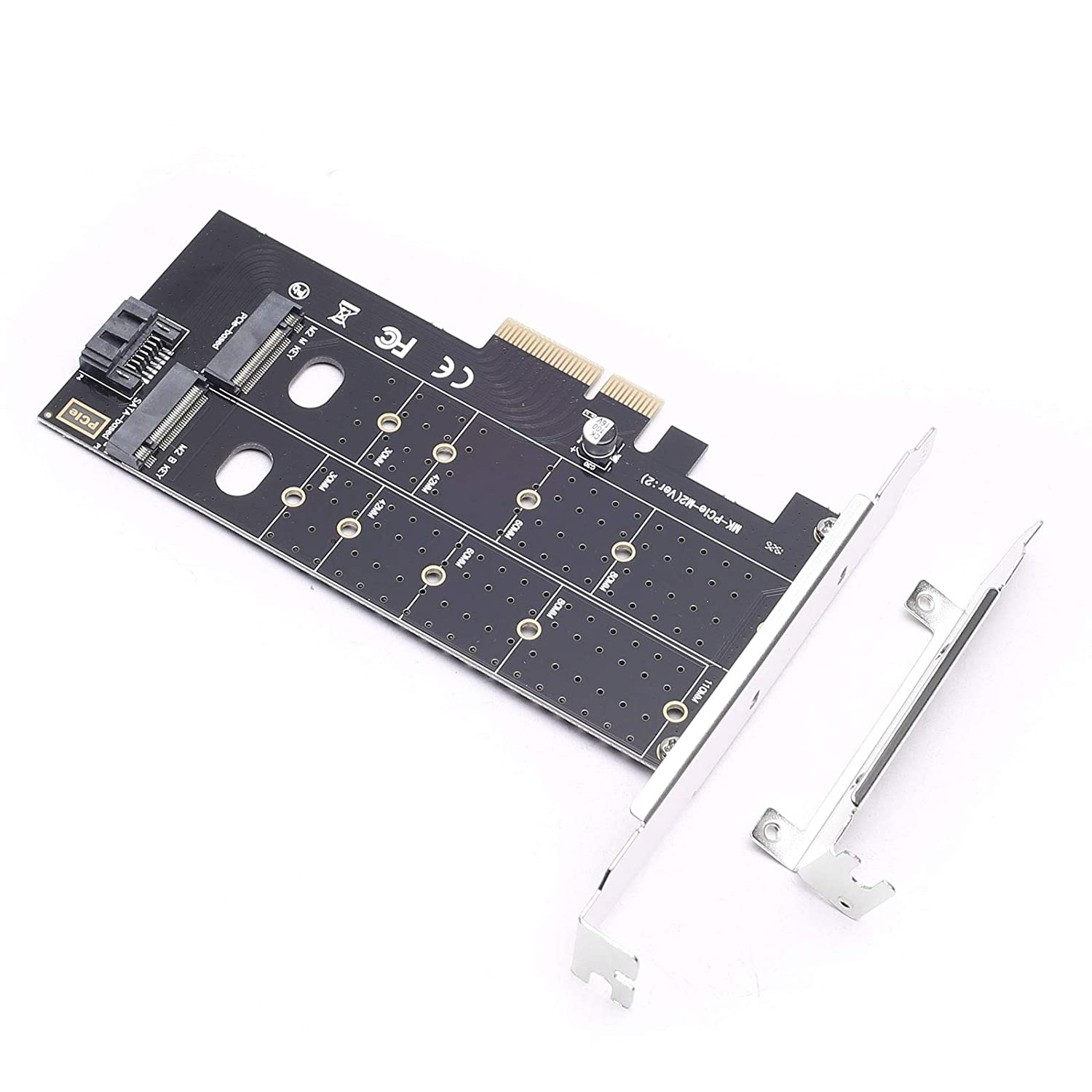 DEVMO M.2 NGFF to Desktop PCIe x4 x8 x16 NVMe SATA Dual SSD PCI Express Adapter Card