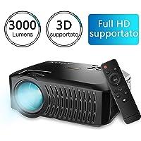 Videoproiettore, ABOX A2 Proiettore da 3000 Lumen, Risoluzione Nativa HD 1280*720P, Mini Proiettori Portatile LCD per Casa e Viaggio, Compatibile con Fire TV Stick / PS4 / TV Box