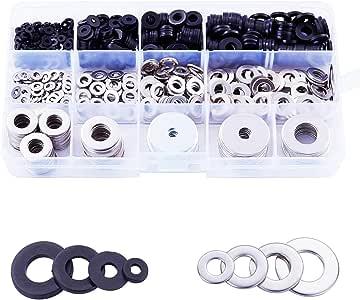 Litorange 805 PCS M2-M12 Nylon & Stainless Steel Flat Sealing Washer Screws Assortment Kit, Round Spacer Washers, M2 M3 M4 M5 M6 M8 M10 etc 13 Sizes For General Repair