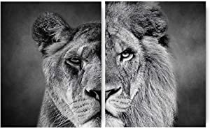 """Wild Animals Black and White Lioness Male Lion Inspirational Words Quote Art Painting Set of 2 (8""""X10"""" Canvas Picture),Large Safari Wall Art Print Poster for Office or Living Room Home Decor,No Frame"""