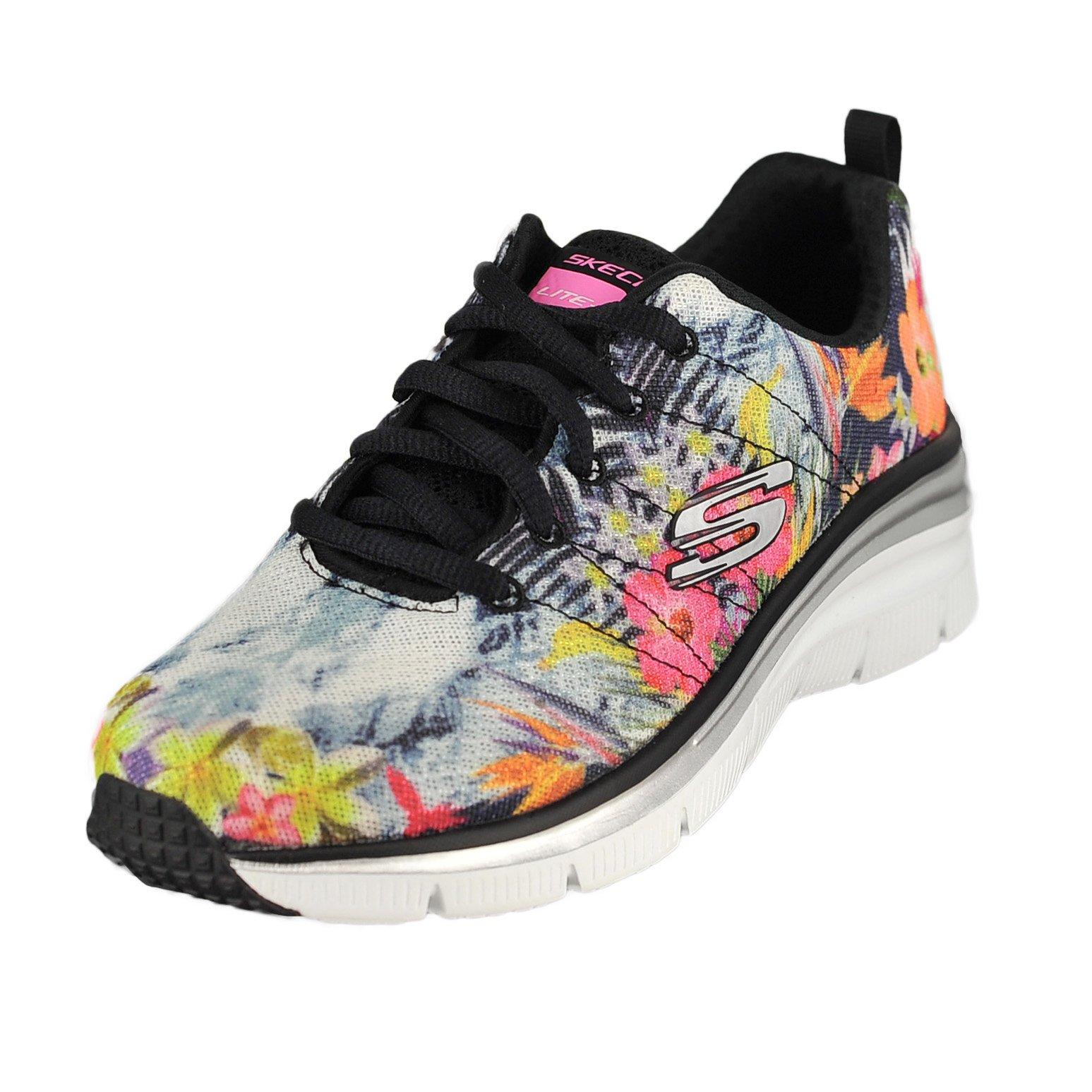 Skechers Sport Women's Fashion Fit Spring Essential Fashion Sneaker, Black/Multi, 7.5 M US