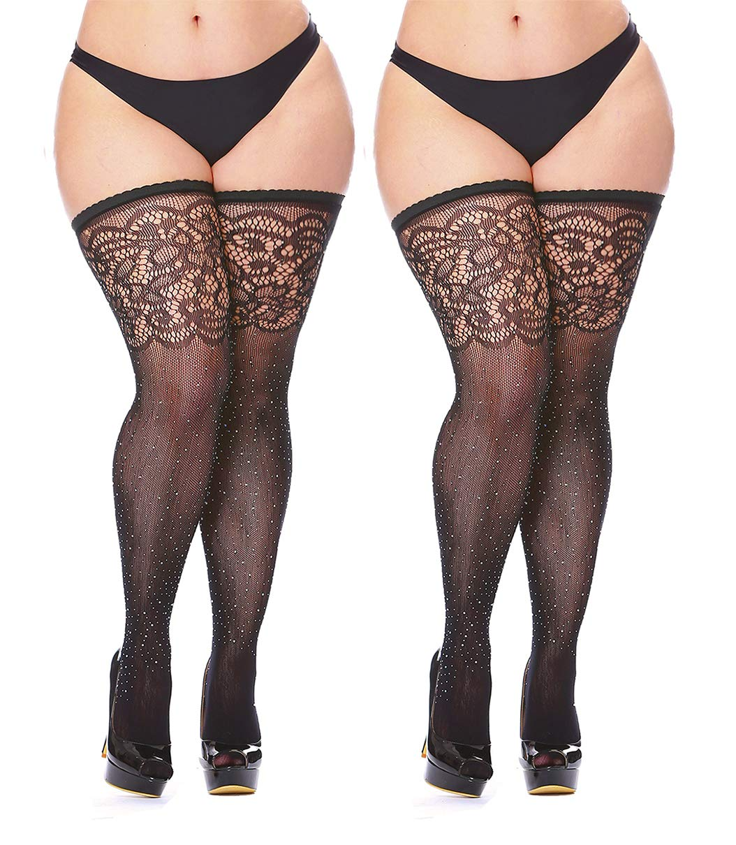 Women's Black Fishnet Thigh Highs Plus Size Stay-up Rhinestone Stocking 2 Pairs