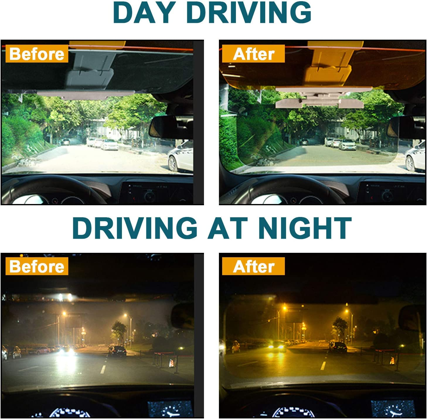 2 in 2 Universal Day and Night Anti-Glare Car Sun Visor FILBA 2020 Car Sun Visor Adjustable HD Anti-Glare Dazzling Goggle Day Night Mirror Vision for Day//Night for Driving