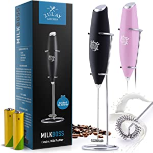 Zulay Milk Boss (Batteries Included) Milk Frother Electric Foam Maker - Whisk Milk Frother Handheld Drink Mixer - Battery Operated Coffee Frother For Lattes, Cappuccino, Frappe, Matcha, And More - Midnight Black