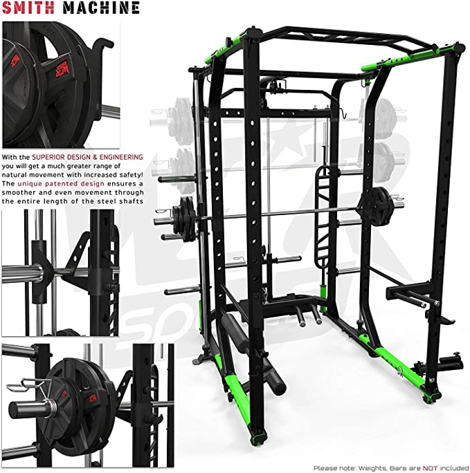 We R Sports® Power Rack Home Gym Crossfit Rack Smith Machine - Lat Pull Down -Pull Ups