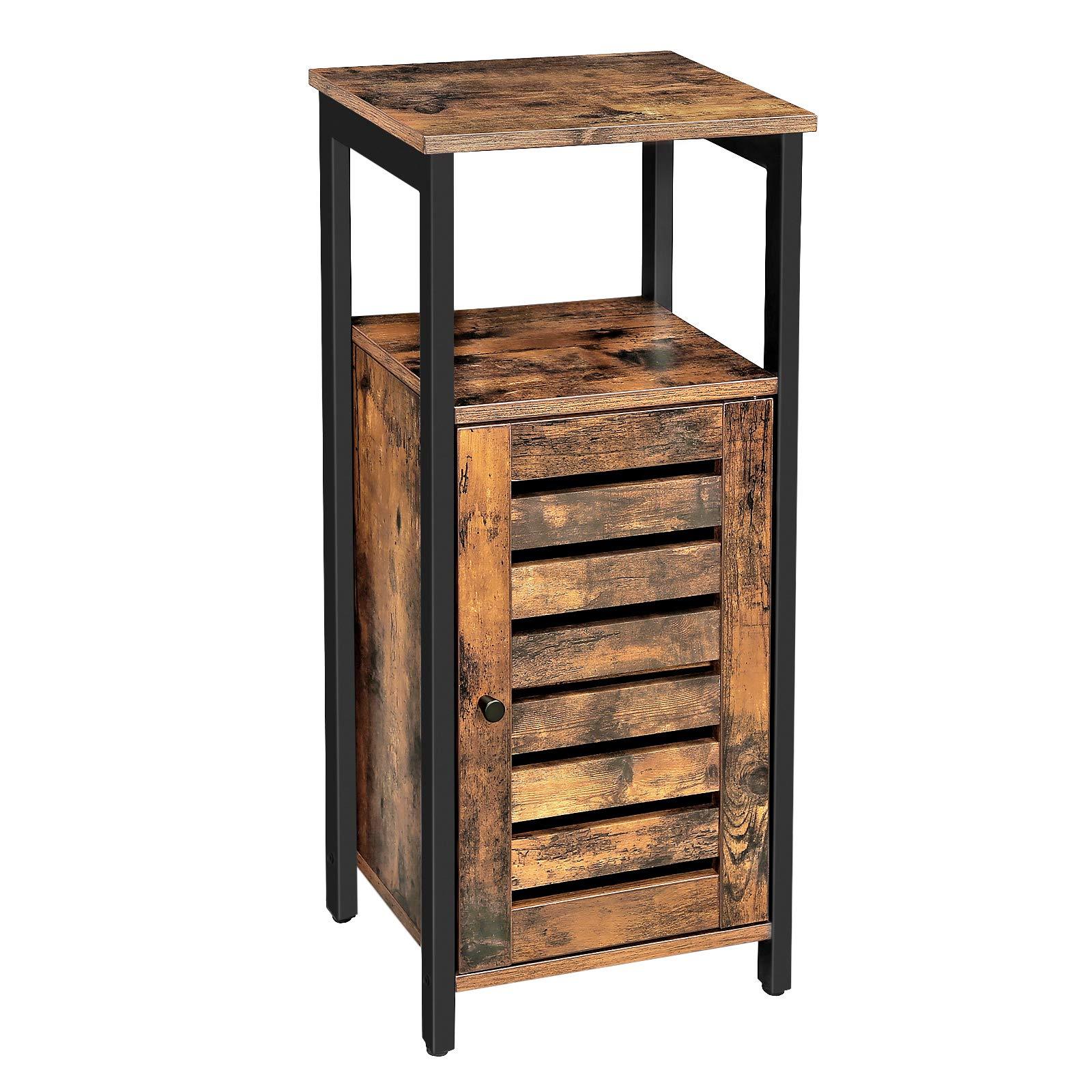 VASAGLE Storage Cabinet, Standing Cabinet, Industrial Side Cabinet, Beside Cupboard with Shelf, for Living Room, Bedroom, Hallway, 37 x 30 x 81 cm, Rustic Brown LSC34BX