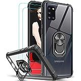 LeYi Funda Samsung Galaxy A31 con [2-Unidades] Cristal Templado, Transparente Case con 360 Grados iman Soporte Silicona Bumpe