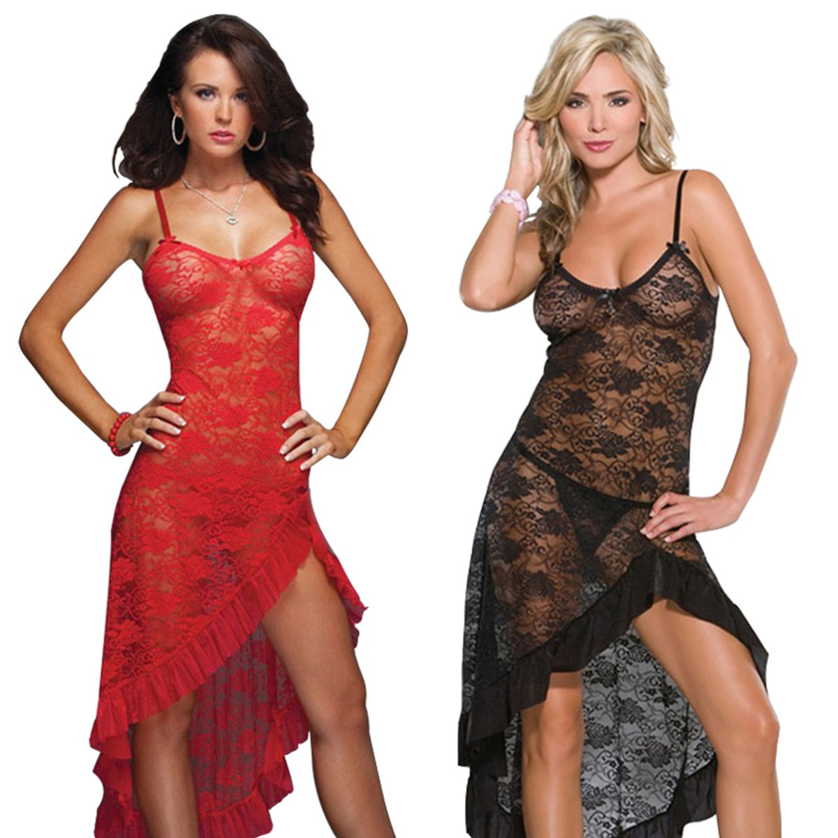 LOVELYBOBO 2 Pack Women Lace Nightwear Lingerie Plus Size Lace High Split Long Gown Dress Sexy Babydoll Chemise (Black+Red)