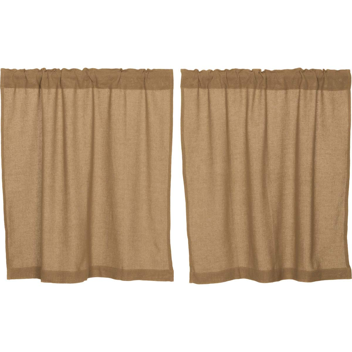 VHC Brands Classic Country Farmhouse Kitchen Window Curtains-Burlap Tan Tier Pair, L36 x W36, Natural