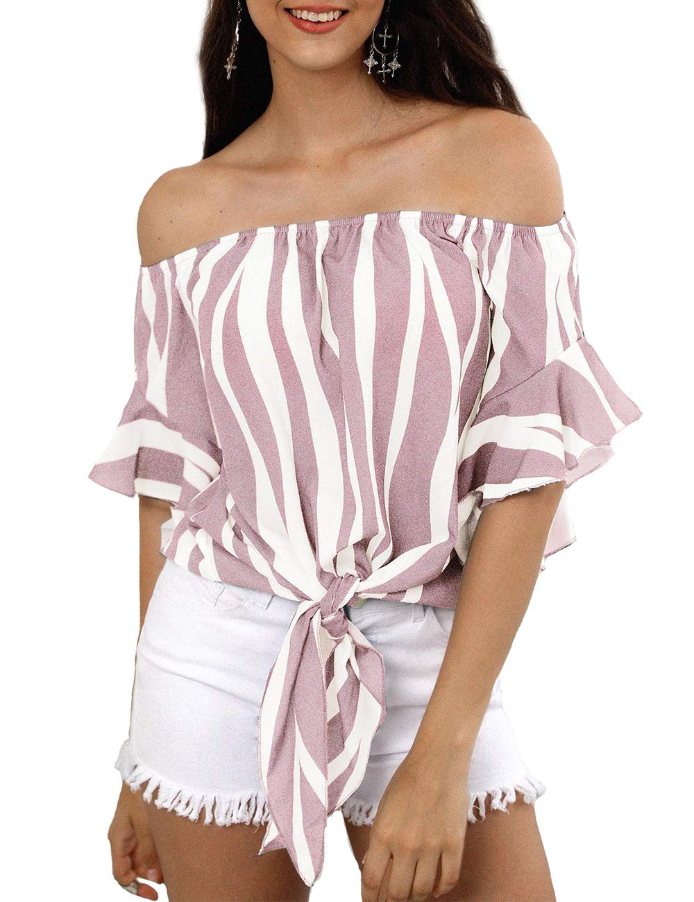 Women\'s Striped Off Shoulder Bell Sleeve Shirt Tie Knot Casual Blouses Tops(Stripe Pink,L