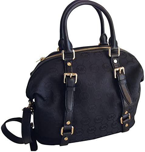 af937b6ffb7a3 Michael Kors Bedford Medium Monogram Jacquard Satchel Black Black   Amazon.ca  Shoes   Handbags