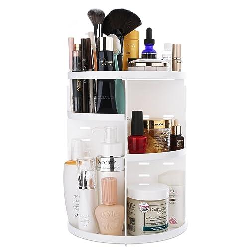 LuLuYukiii コンパクトのクィーンサイズのストレージスペース、360度回転式、多機能の化粧品収納スタンド 可調節のコスメボックス メイクボックス