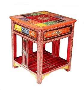 Kamdhenu art and craft Bedside Table Multi Color (16 x 16 x 18 Inch)