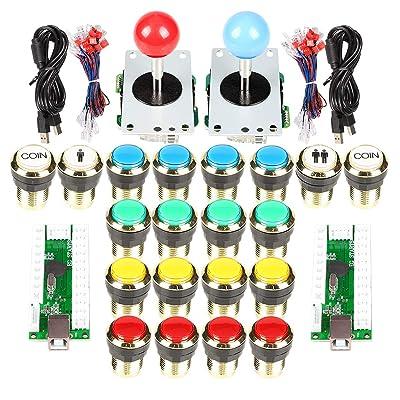 Arcade Stick Gold Plating Buttons Kit EG Starts 2 Player USB Encoder
