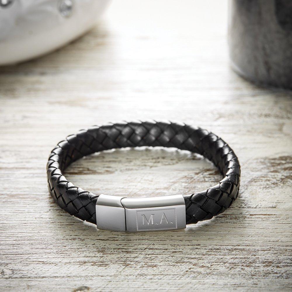 Gravado - Bracelet en cuir pour hommes avec gravure - Personnalisé avec /[INITIALES/] ou Standard - Bijoux hommes - Bracelet indivuel comme cadeau homme - Bijou original pour lanniversaire AZ-7034-0111-P