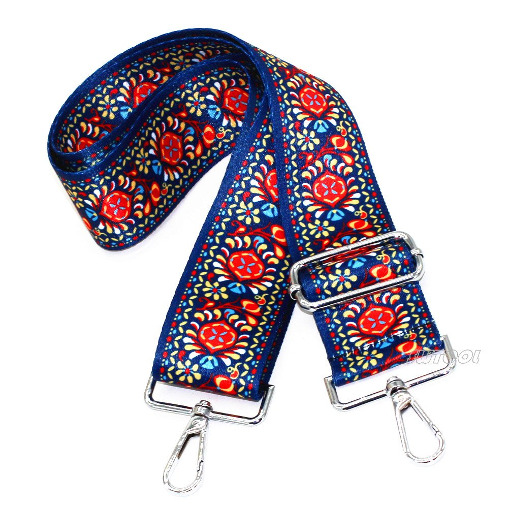 With 2Pcs Silver Metal Buckles Selling Wonderful 2 Wide 28-50 Adjustable Length Handbag Purse Strap Guitar Style Multicolor Canvas Replacement Strap Crossbody Strap Style10