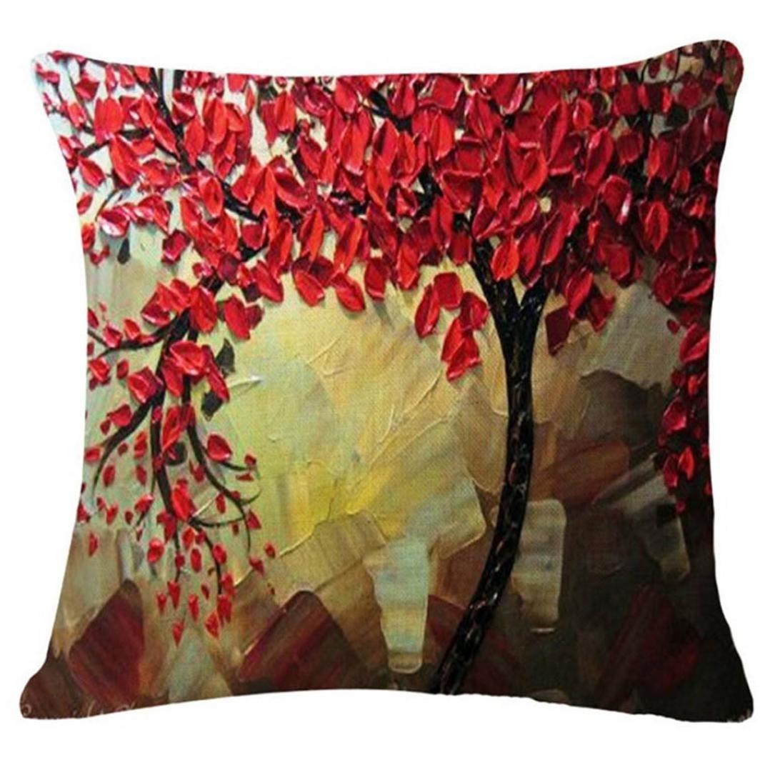 Fossrn Fundas de Cojines Almohada Vintage Floral Hojas Árboles Funda de Cojines para Sofa Jardin Cama Decorativo - 45x45 cm (02)