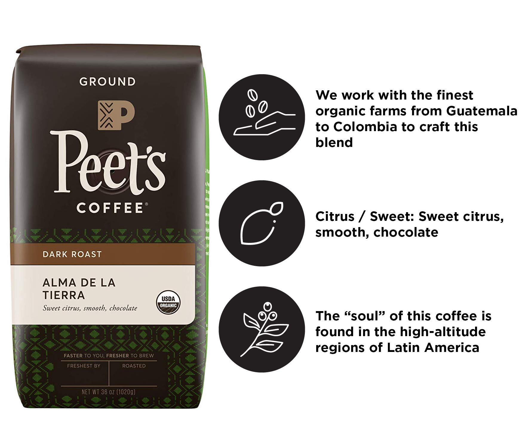 Peet's Coffee Alma de la Tierra Dark Roast Ground Coffee Organic, 2.25 Pound Bag USDA Organic by Peet's Coffee (Image #2)