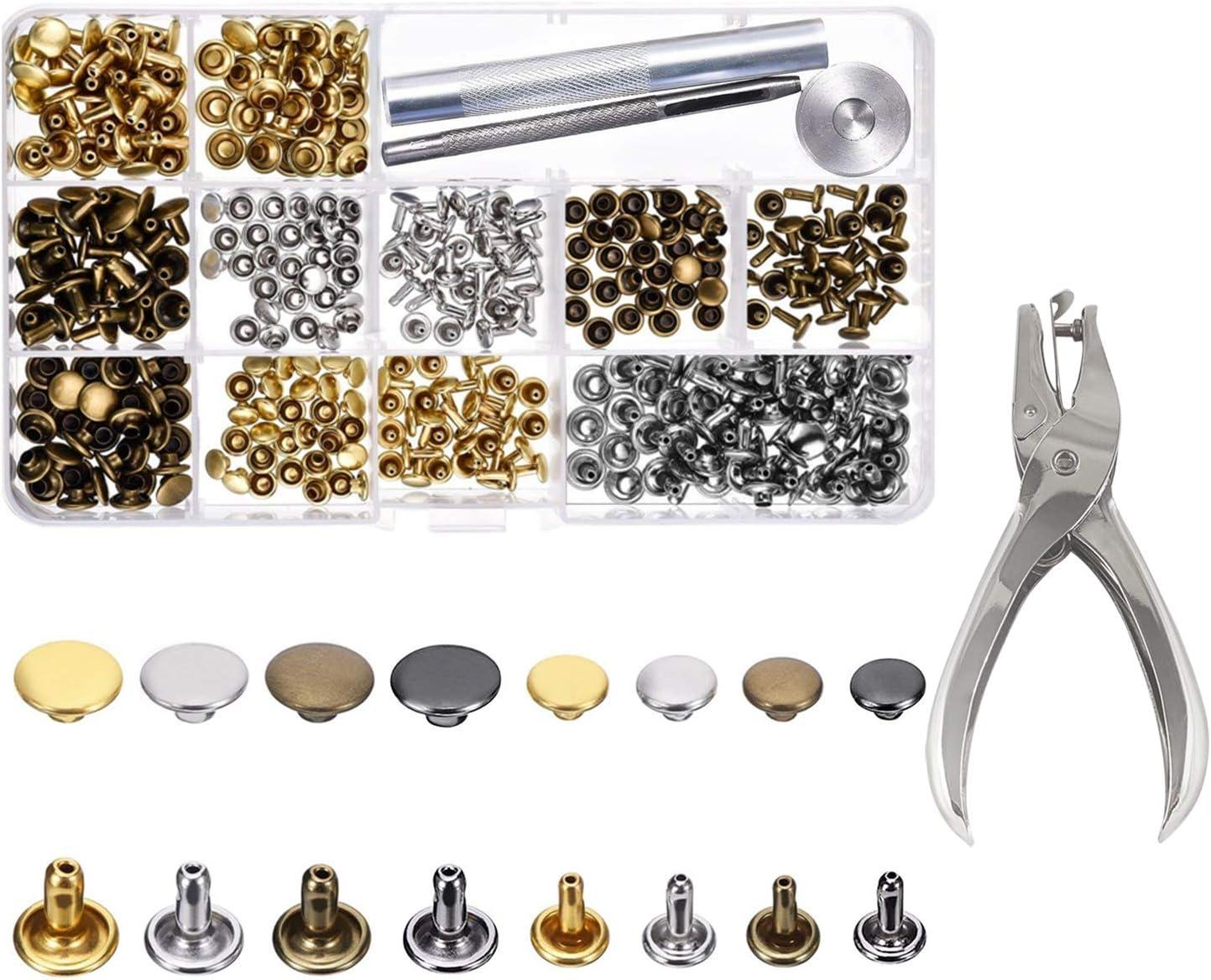 ✮GARANTÍA DE POR VIDA✮-CZ Store®-Remaches|300 PZS + ALICATES|Remache tubular 3 tamaños (6 8 y 12MM) con doble cierre y 3 herramientas de fijación-Remache de cuero (Oro, Bronce, Plata)-Kit remaches
