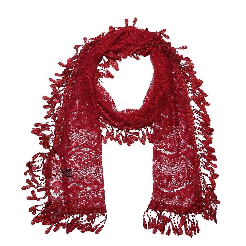 Falari Vintage Women Lace Scarf With Fringes Polyester (Style 3 - Dark Red)