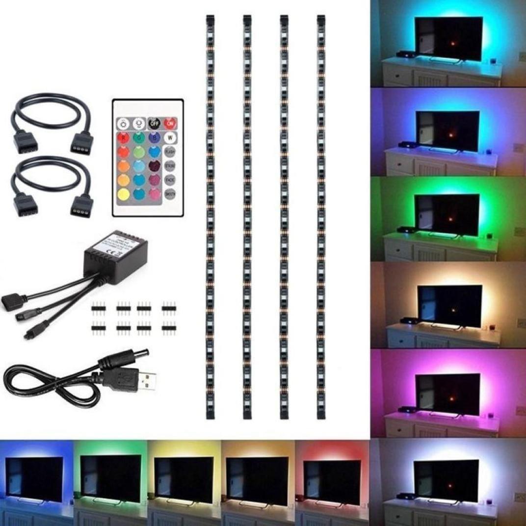 WensLTD_ New 50-200CM USB LED Strip Light TV Back Lamp 5050RGB Colour Changing+Remote Control (50CM, Non-Waterproof)