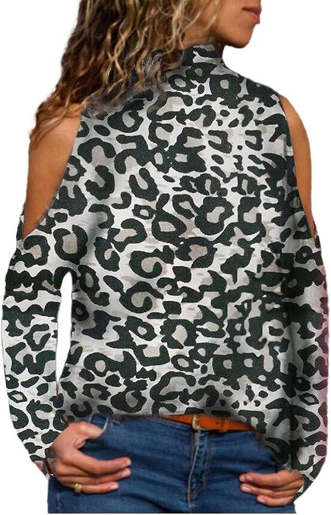 Geilisungren Tops de Mujer de Moda 2019, Leopardo Camisetas Mujer Manga Larga sin Tirantes Blusas de Elegantes Imprimiendo Verano Fiesta Blusas Tallas Grandes Oficina de Trabajo de Las Camiseta: Amazon.es: Ropa y