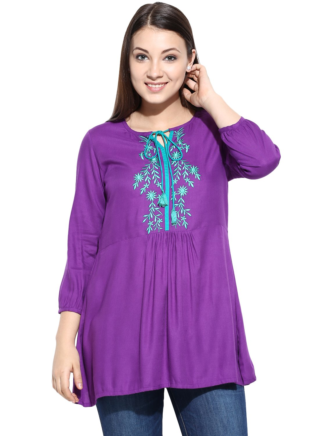 Avaana Purple Embroidery Rayon Short Kurta