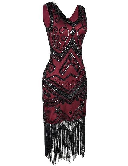 Kayamiya Mujeres Vestidos de Flapper 1920 Cuello en V Inspirado Lentejuelas Franja Vestido de Gatsby: Amazon.es: Ropa y accesorios