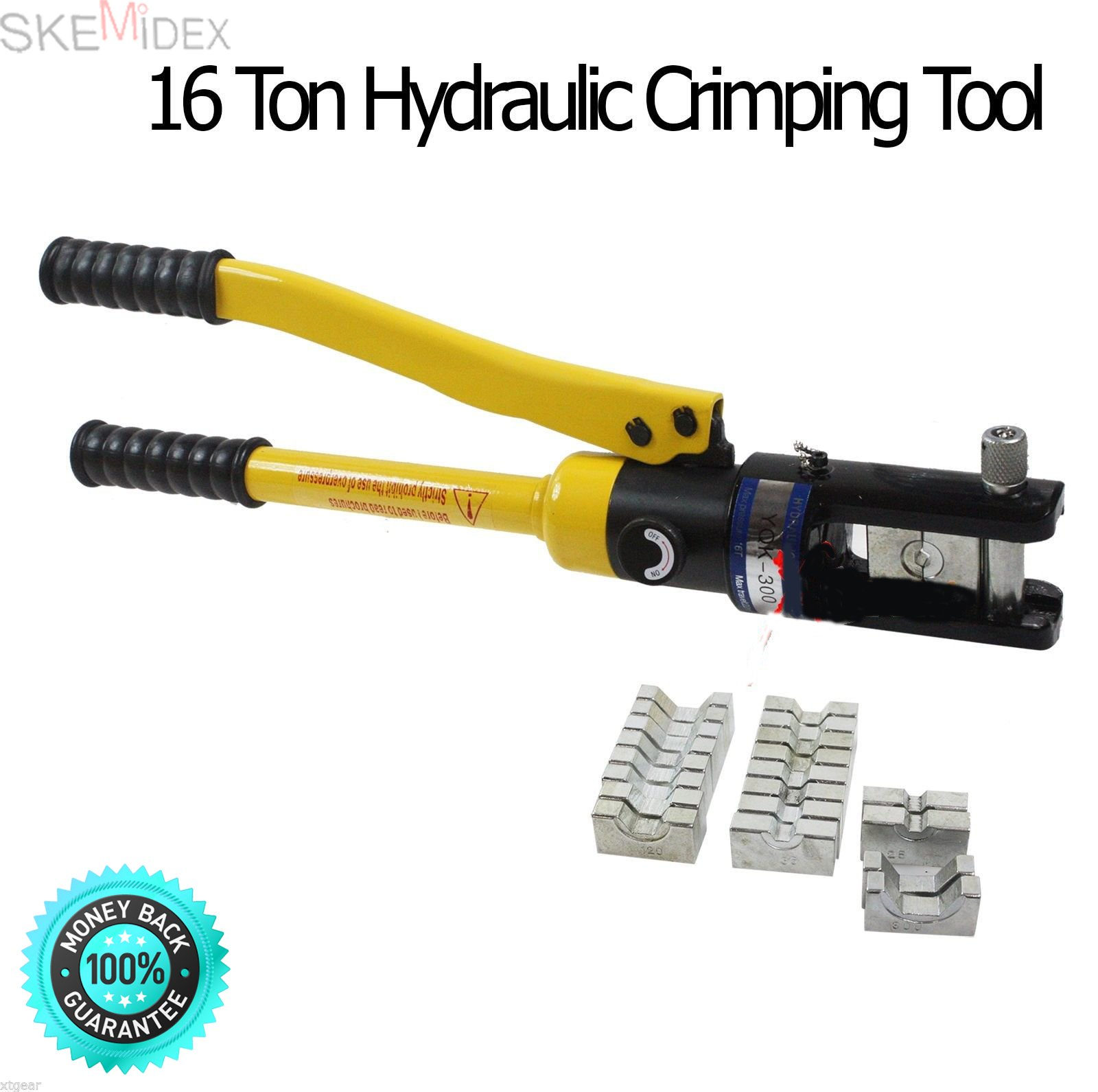 SKEMiDEX---New 16 Ton Hydraulic Wire Terminal Crimper Battery Cable Lug Crimping Tool. C shape crimping tool head, with safety equipment, manual hand operated