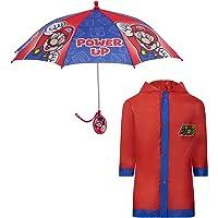 Nintendo boys Kids umbrella and slicker, Super Mario Rainwear Set for Boy's Ages 4-7