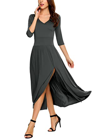 be3ad39afa14 Meaneor Women s Deep V Neck Short Sleeve Empire Waist Side Slit Long Dress  Grey S