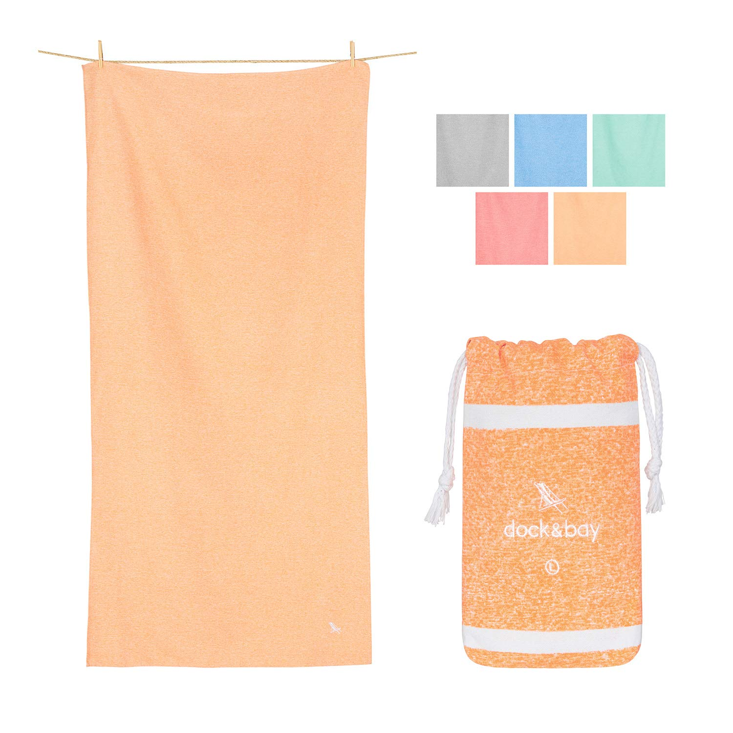Dock & Bay XL Yoga Towels for Fitness - Dune Orange, 63 x 31 - Fitness, Shower & Travel - Fast Dry, Compact, Lightweight Towels
