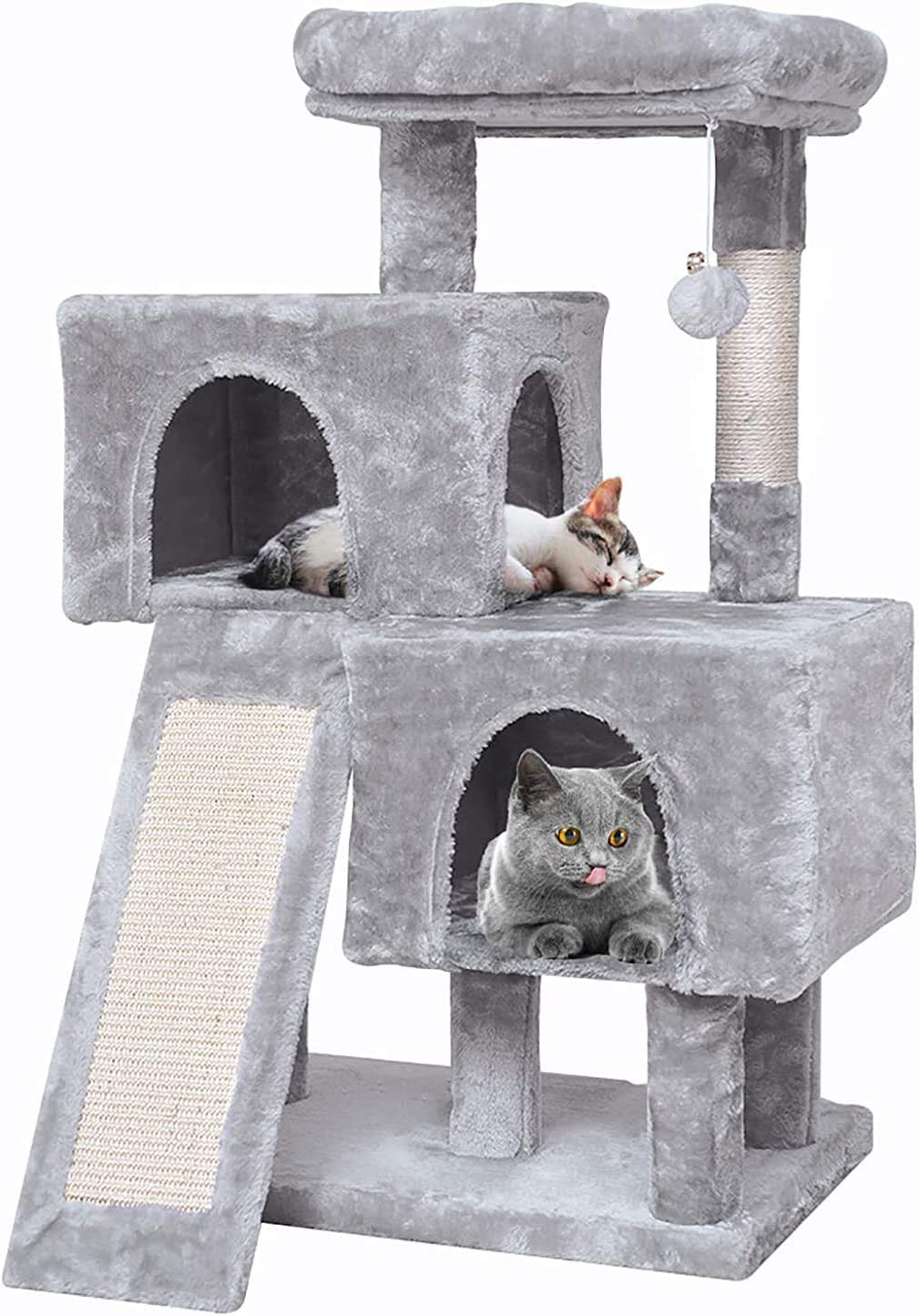 JISSBON Cat Tree Condo Tower, 38'' Multi Level Activity Center with Sisal-Covered Climbing Ladder Scratching Posts Plush Perch Cat Condos for Kittens Adult Cats Play House, Light Grey