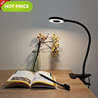 LED Desk Lamp, 2 Mode & 2 Level Cold/ Warm Light, Natural Light Switch Dimmable Clip Desk Light Bulb Clamp Flexible Gooseneck 360 Degree for Learning, Reading, Working - Charger not Include