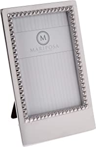 MARIPOSA 3912 Beaded Vertical Statement Frame, Silver