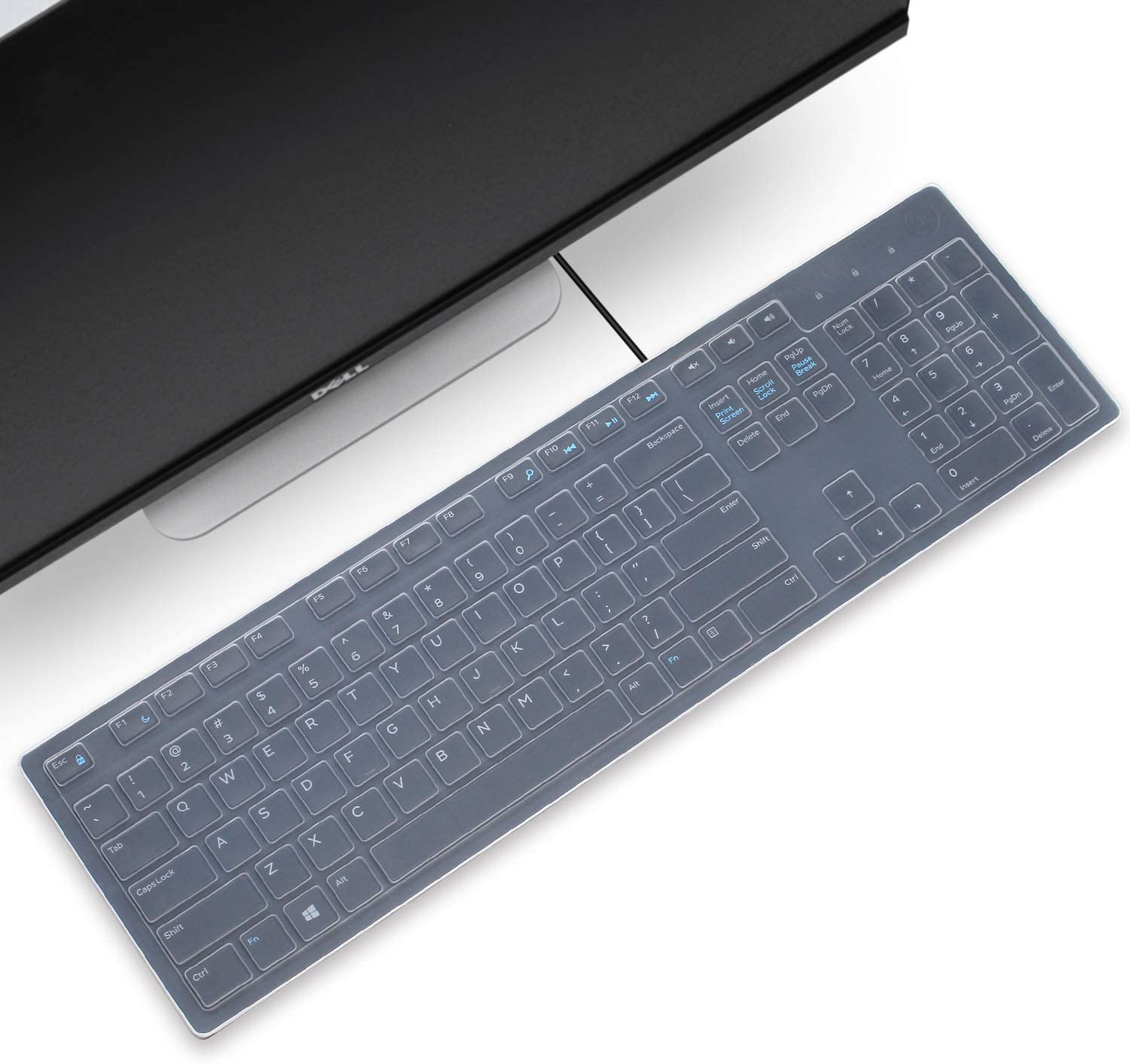 Silicone Keyboard Cover Skin for DELL KM636 Wireless & KB216 Wired Keyboard & Optiplex 5250 3050 3240 5460 7450 7050 & Inspiron AIO 3475 3670 3477 All-in one Desktop Accessories Protective Skin