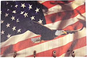 Key Holder for Wall with American Flag and Bald Eagle US Military Rustic Wall Decor with 4 Key Hook, Key Hanger, Key Rack with Ultra-Violet Printing by Master Park
