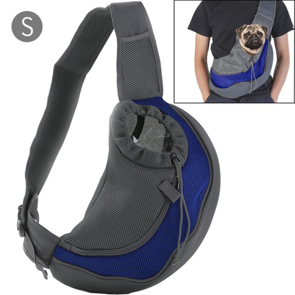 BreaDeep Portable Pet Dog Cat Puppy Carrier Outdoor Shoulder Bag Breathable Mesh Travel Tote Sling Backpack -Small Size (Blue & Black)